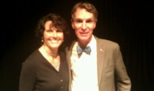 This is a blurry picture of Bill Nye the Science Guy and me.  Yeah, we were hanging out at the Minnesota Science Museum last November. We do that.