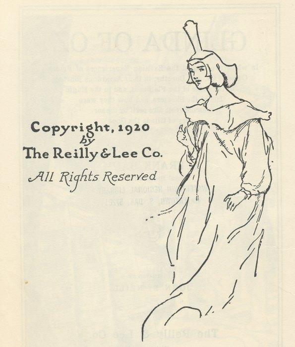 Glinda of Oz copyright page