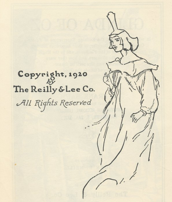 Glinda of Oz copyright page